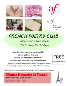 Poetry Club @ Alliance Francaise de Tucson | Tucson | Arizona | United States